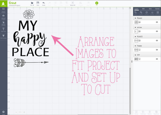 """Make a repurposed """"My Happy Place"""" metal sign with this vinyl lettering Cricut Design Space project."""