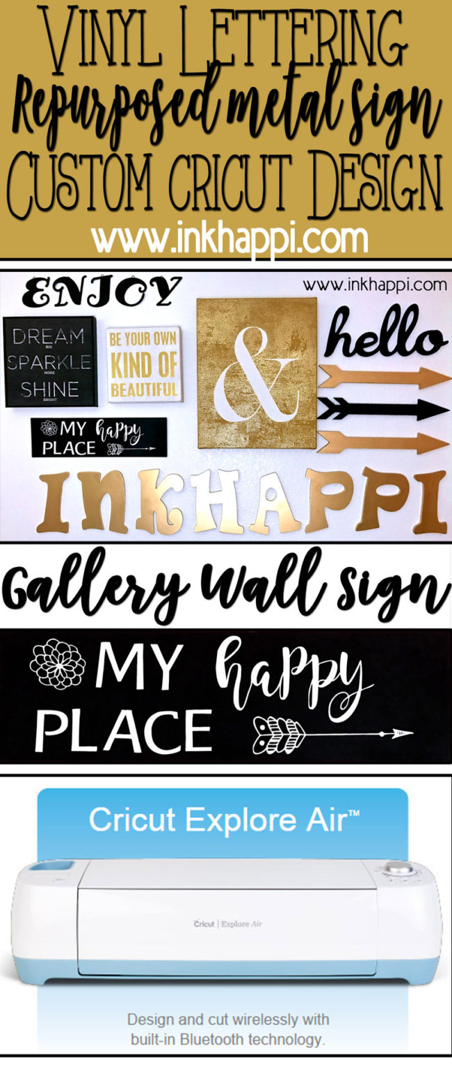 "Make a repurposed ""My Happy Place"" metal sign with this vinyl lettering Cricut Design Space project."