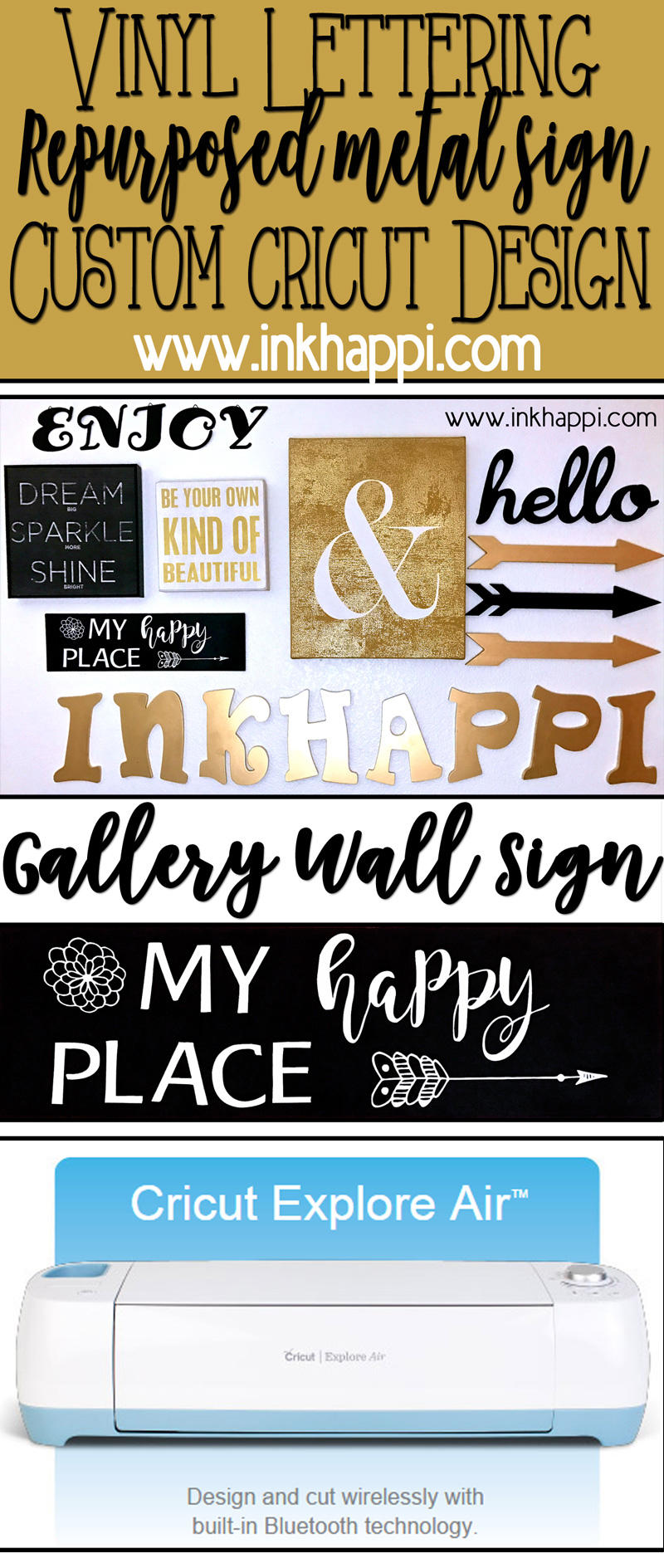 make a repurposed my happy place metal sign with this vinyl lettering cricut design