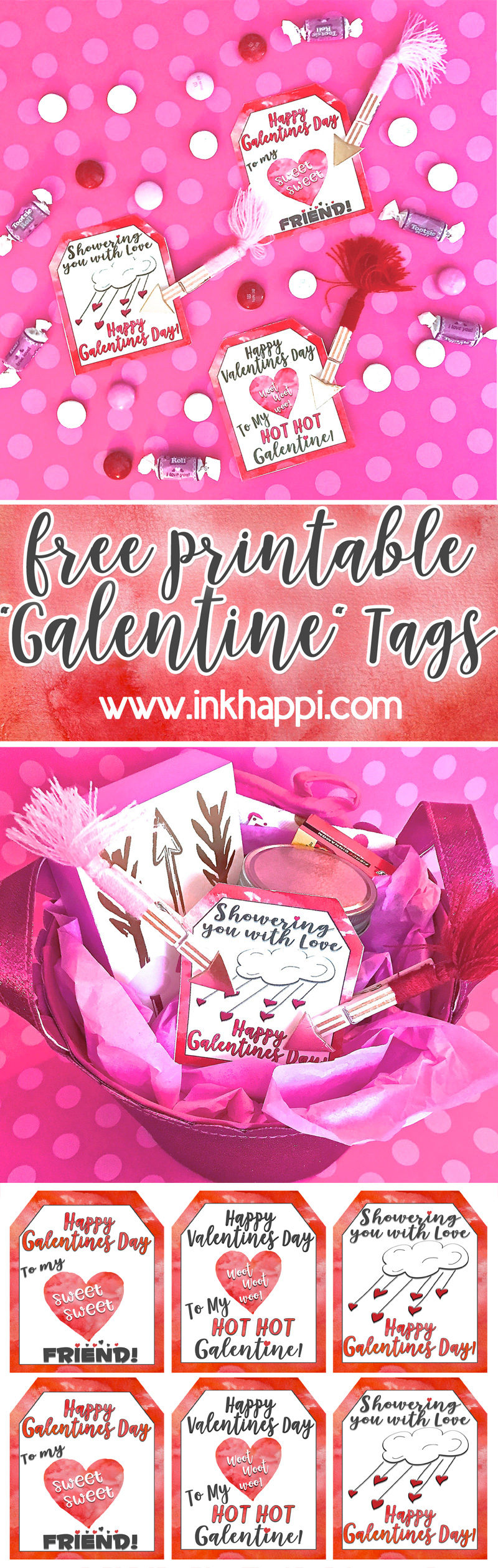 What a cute way to show the gals in your life some love with these Free Printable Galentine Gift Tags! #valentine #galentine #freeprintables