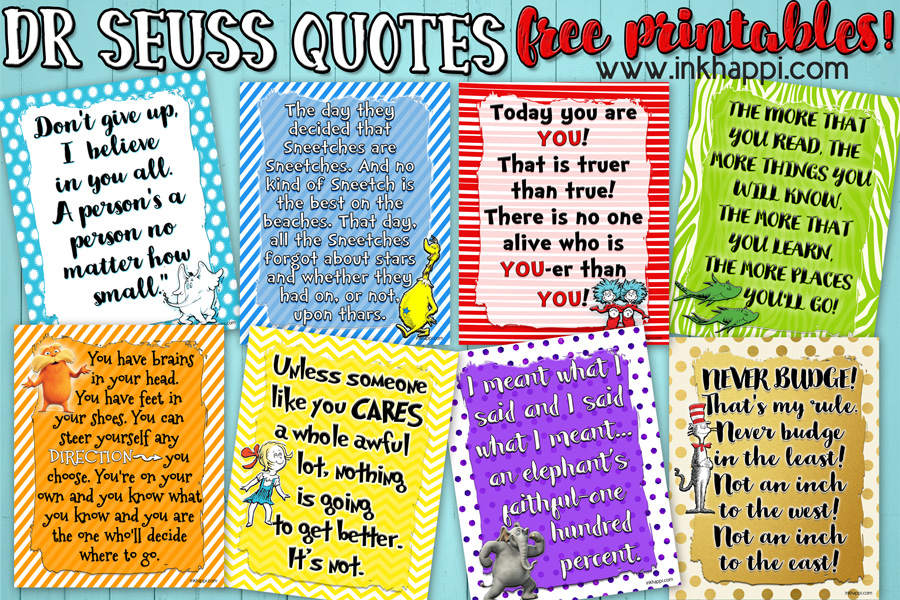 picture relating to Free Printable Dr Seuss Quotes titled Allows Rejoice a birthday with Those Dr Seuss Printables