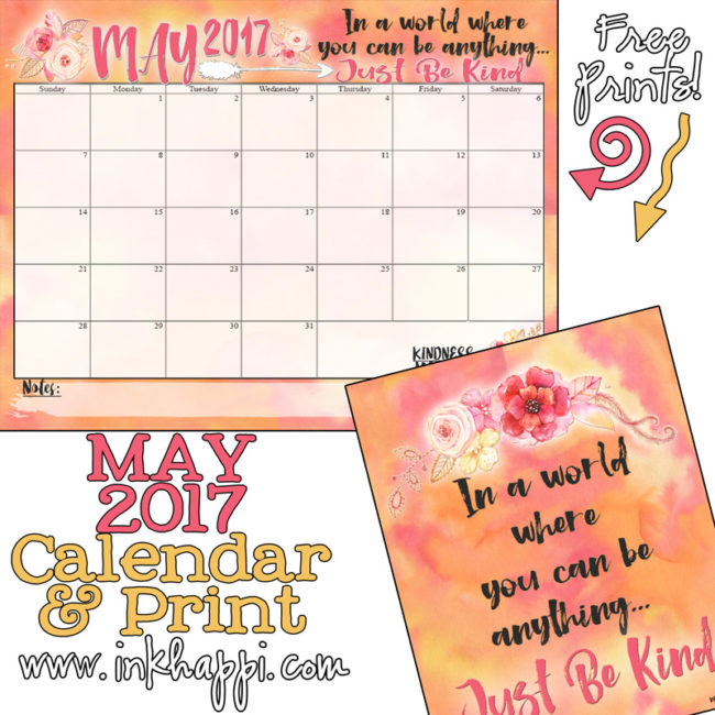 May 2017 Calendar and pretty print from inkhappi!