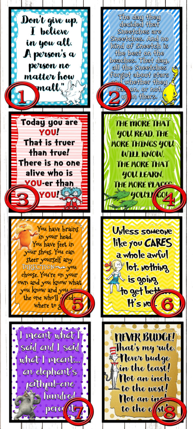 Dr Seuss printables! 8 quotes that also can serve as YW value posters. #freeprintables #DrSeuss #quotes