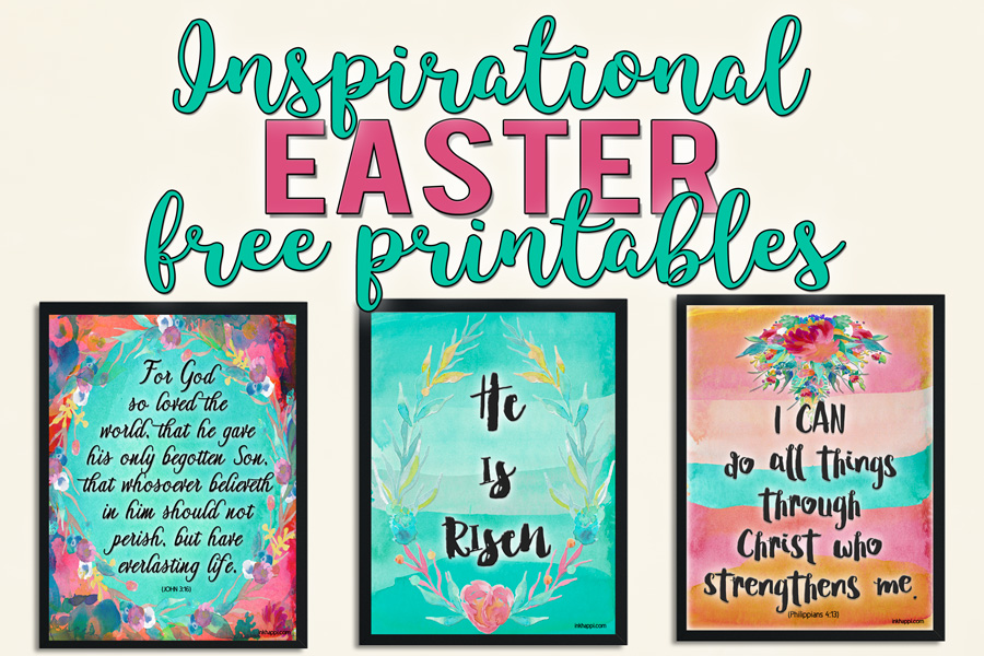 Free Inspirational Easter Printables in pretty watercolor florals #freeprintables #easter