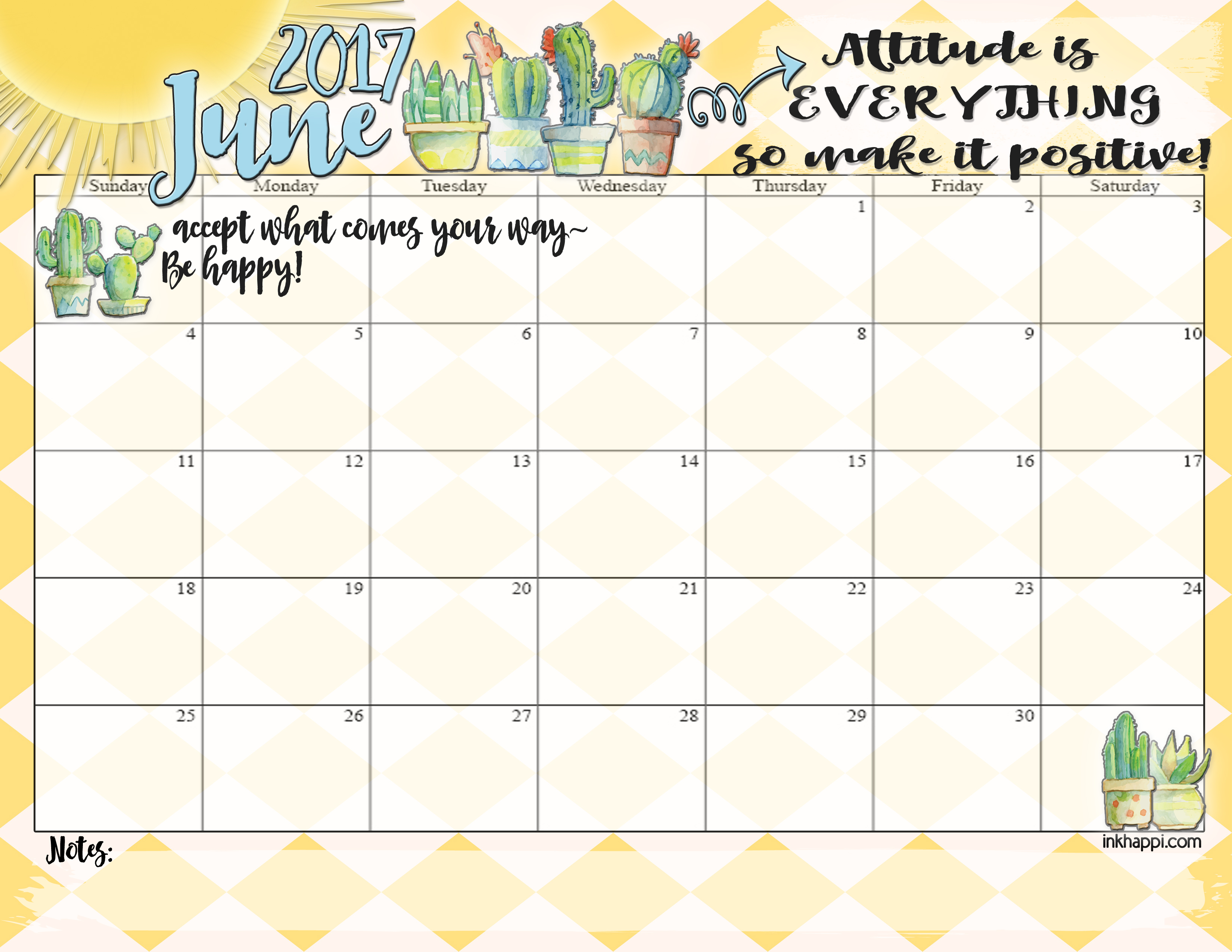 June 2017 calendar and print from inkhappi.