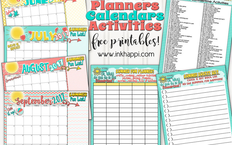 Summer bucket list, planners and calendars for an unbelievable summer!