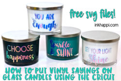 Vinyl sayings on glass candles using Cricut… You will fall in love with this easy project!