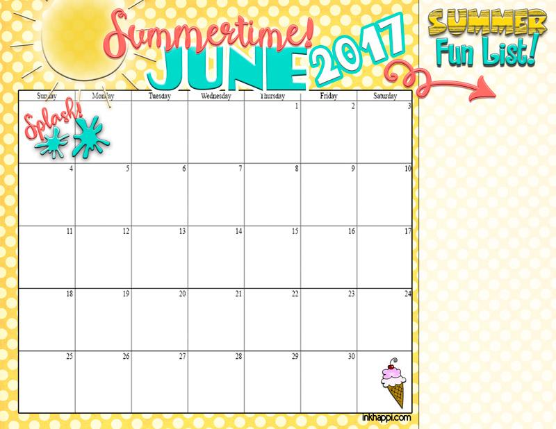 summer planning calendars June 2017