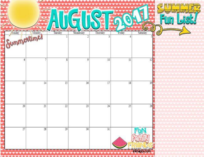 summer planning calendars august 2017 inkhappi