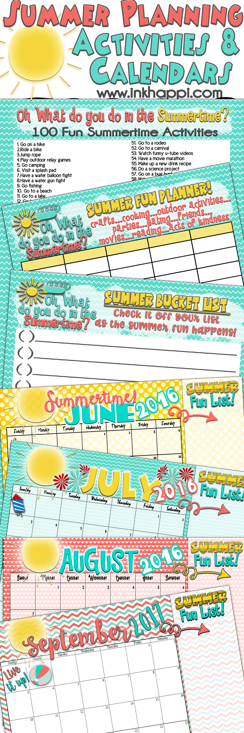 Summer bucket list planners and calendars for an unbelievable
