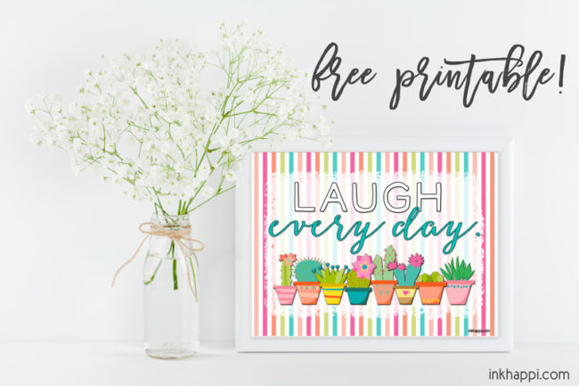 August 2017 Calendar and print encouraging you to LAUGH every day!