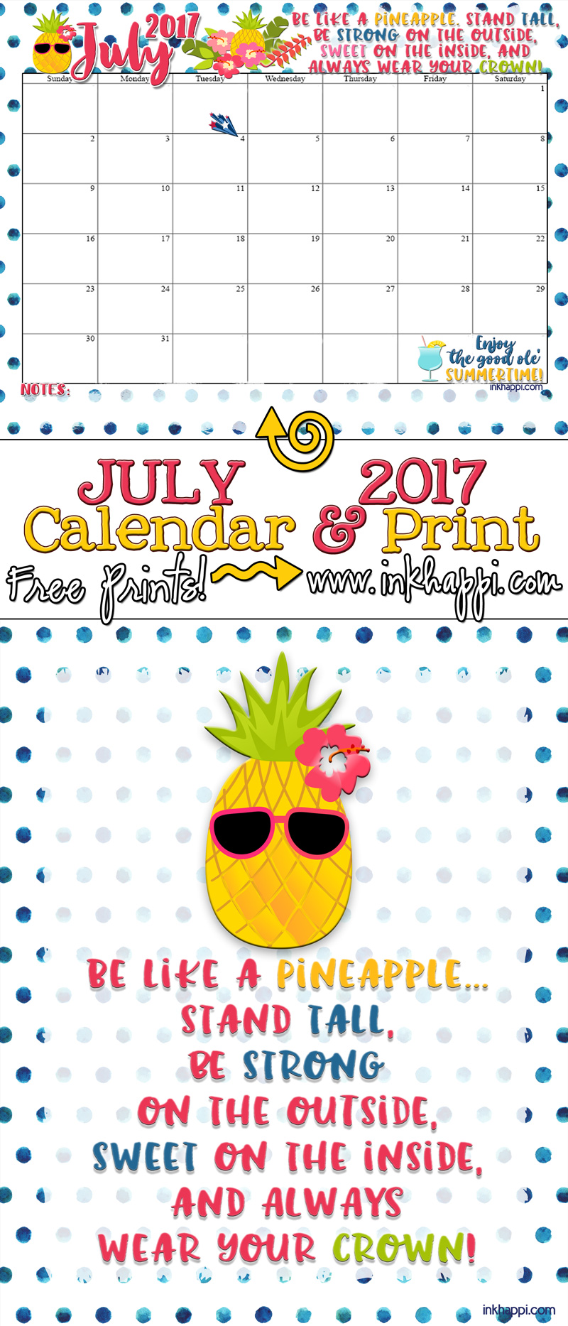 July 2017 Calendar Is All About What Pineapple Inkhappi
