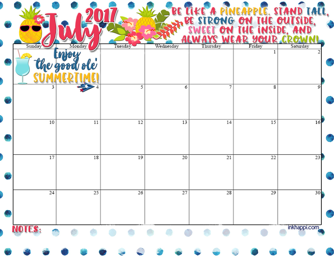 July 2017 Calendar is all about what? Pineapple! - inkhappi