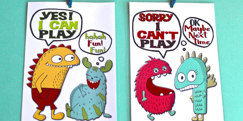 Free printable cartoon playtime door signs saying wether kids can or can't play.