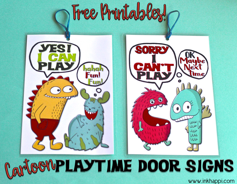 free printables cute cartoon playtime door signs inkhappi