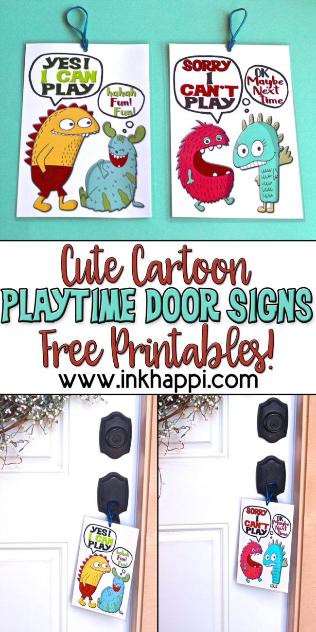 graphic relating to Free Printable Door Signs called Totally free printables: Lovely cartoon playtime doorway symptoms! - inkhappi