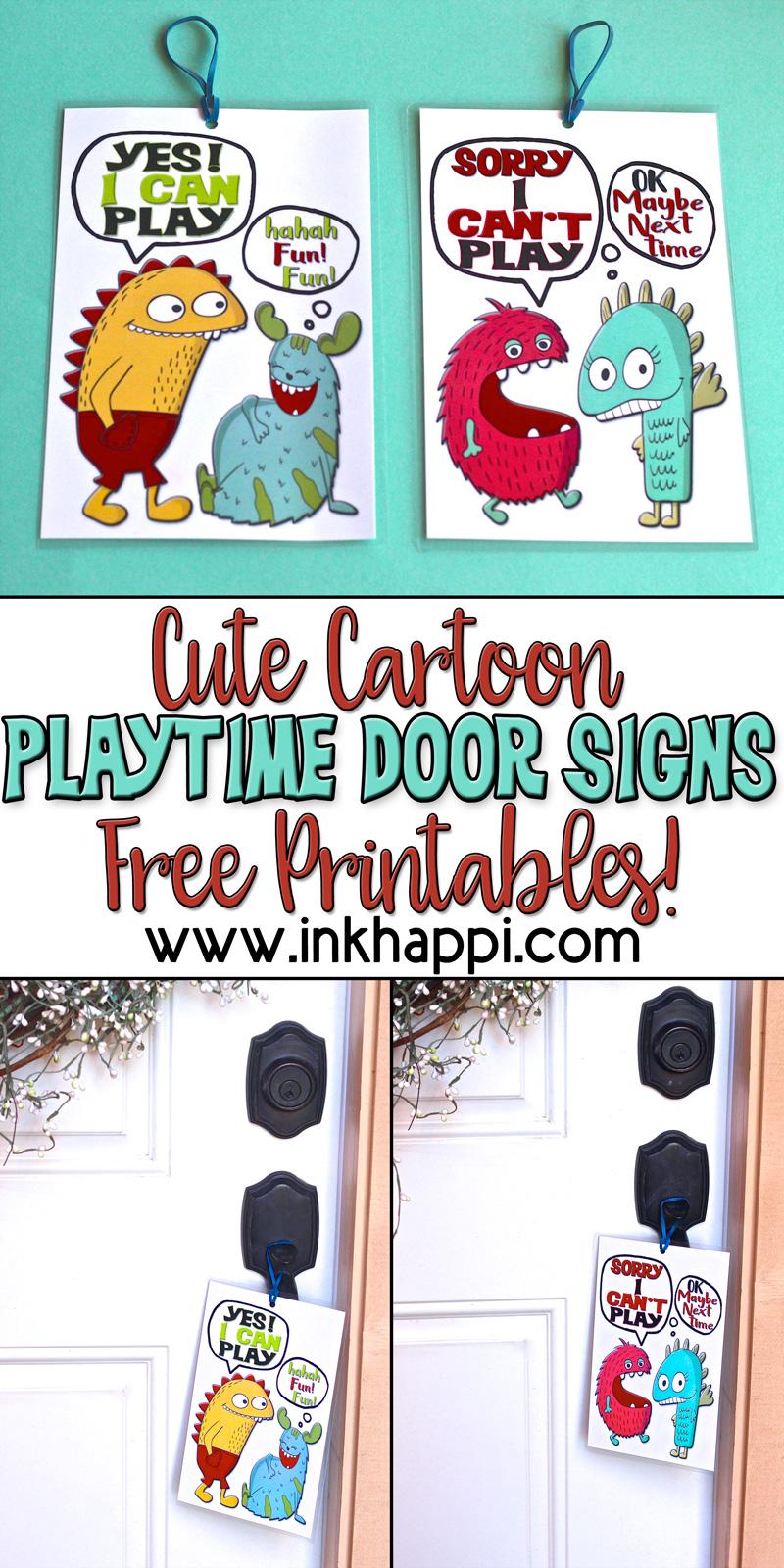 Printable Playtime Door Hanger