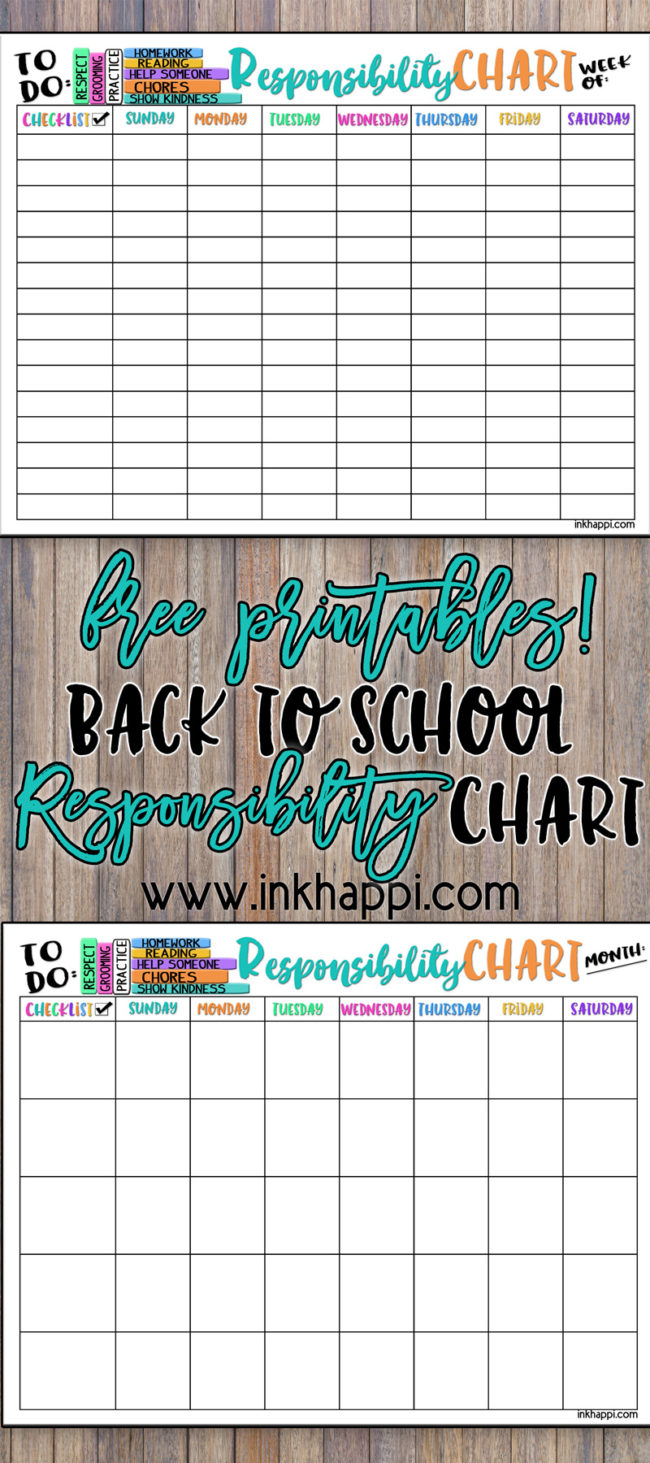 Help teach and develop our children about responsibility with this Back to School Responsibility Chart.