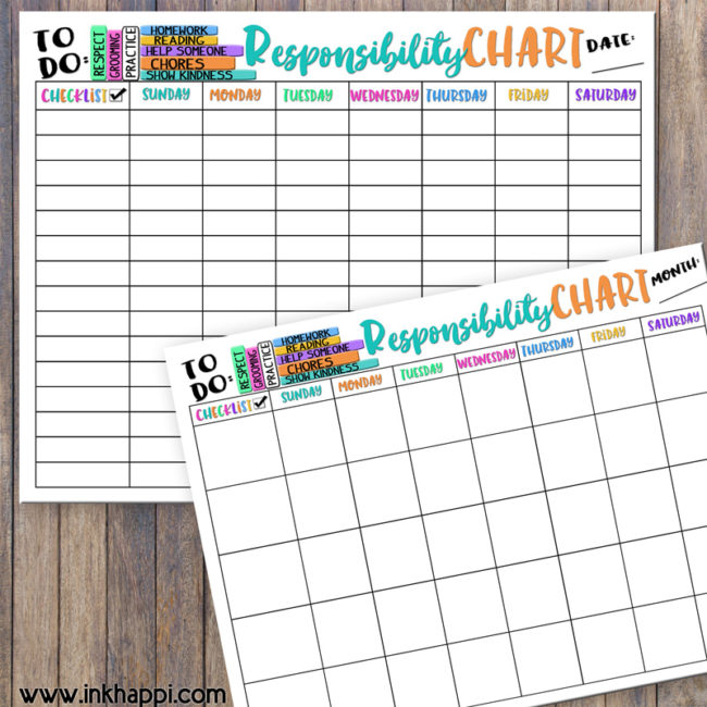 Help teach and develop our children about responsibility with these Children's Responsibility Charts.