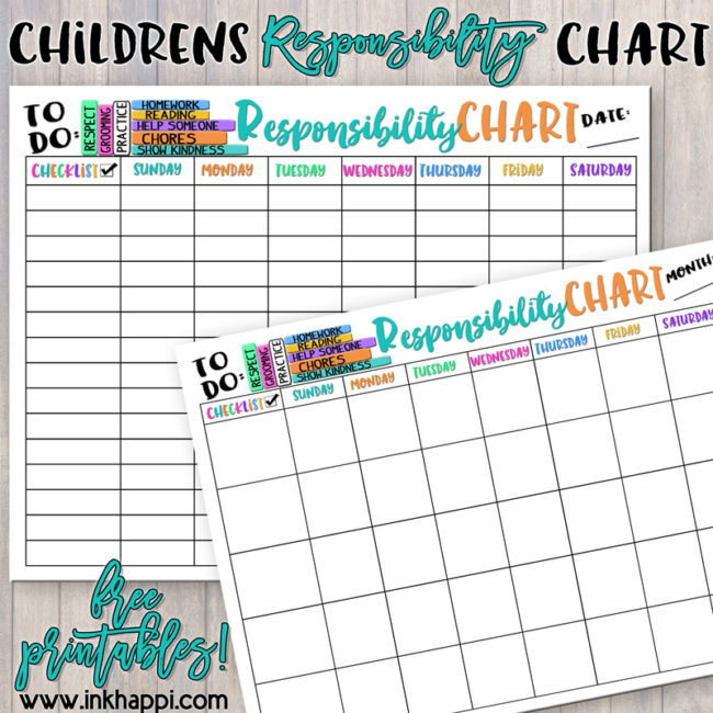 Help teach and develop our children about responsibility with these Childrens Responsibility Charts. #freeprintables #backtoschool #children #responsibily #chart #childrensresponsibilitychart