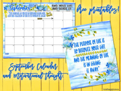 September 2017 Calendar and a Motivational Message About Giving