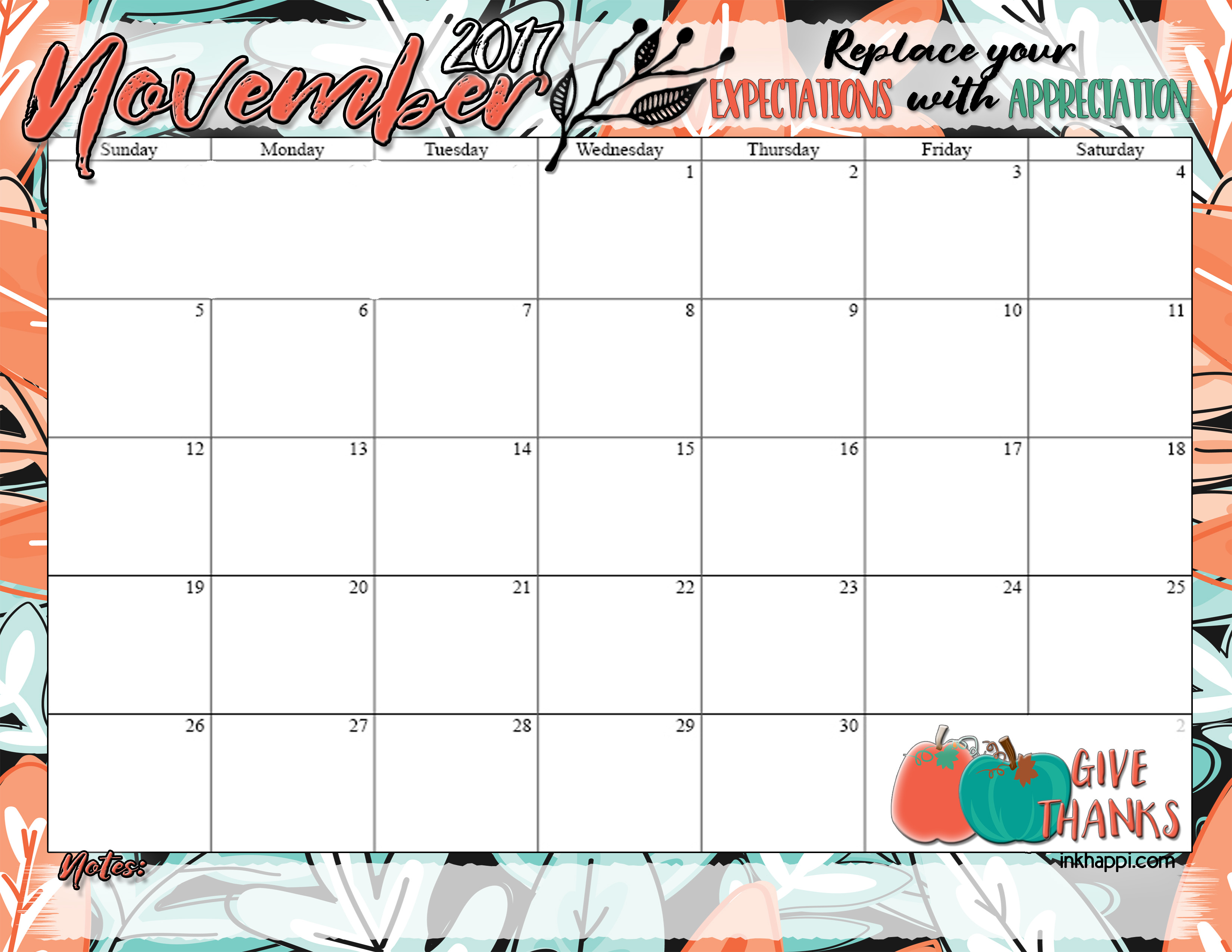 november 2017 calendar inkhappi