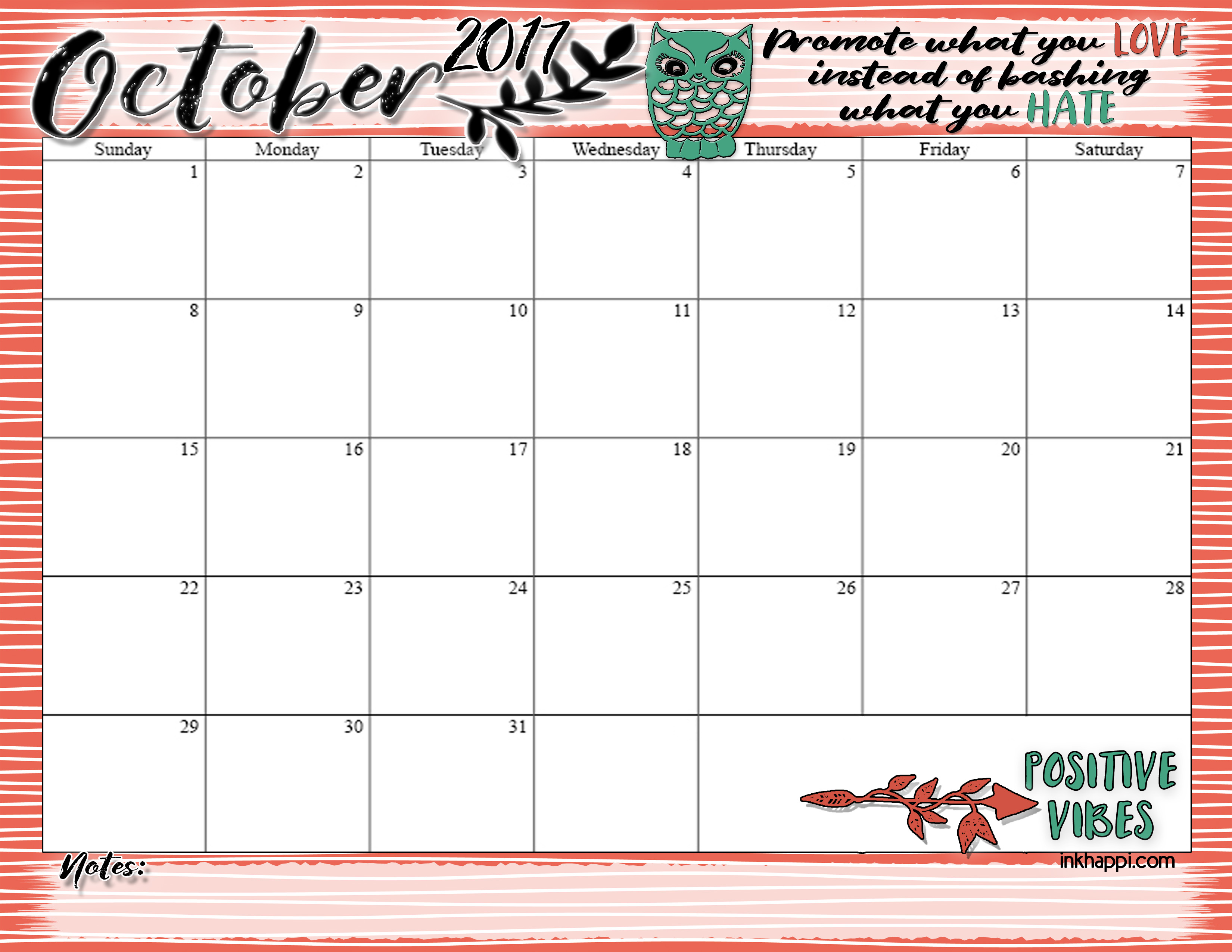 October 2017 calendar and print from inkhappi.