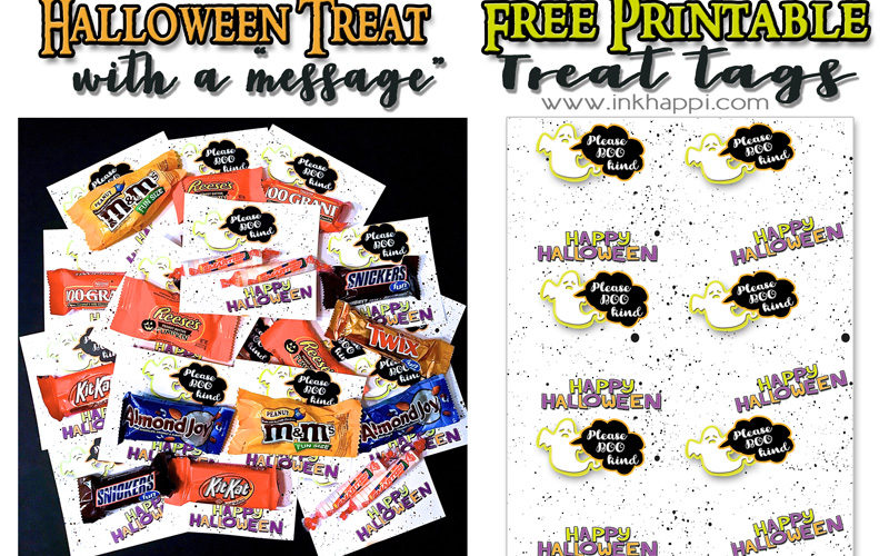 "Halloween treat tags with a message. ""Please BOO kind! #freeprintable #halloween #treattags #bekind #trickortreat"
