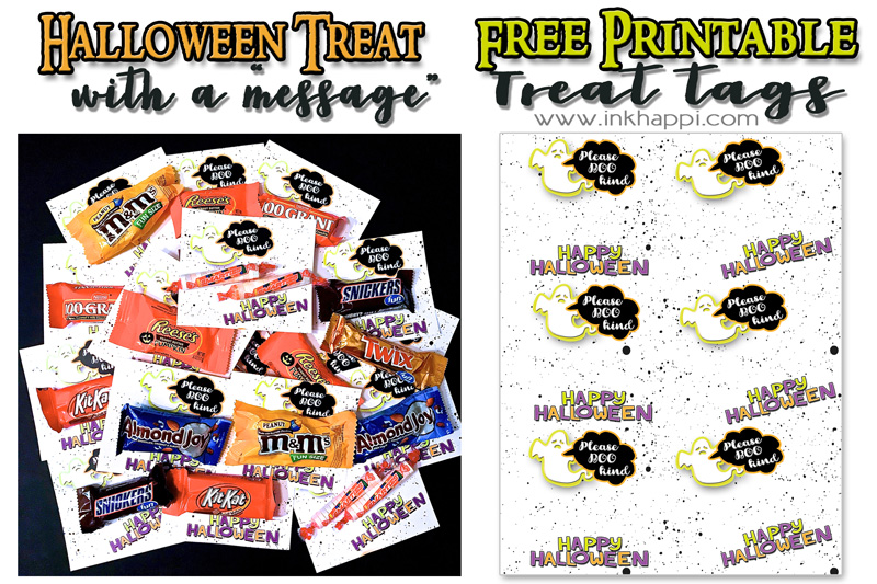 graphic about Free Printable Halloween Gift Tags named Halloween Take care of Tags with a Concept - Absolutely free Printables