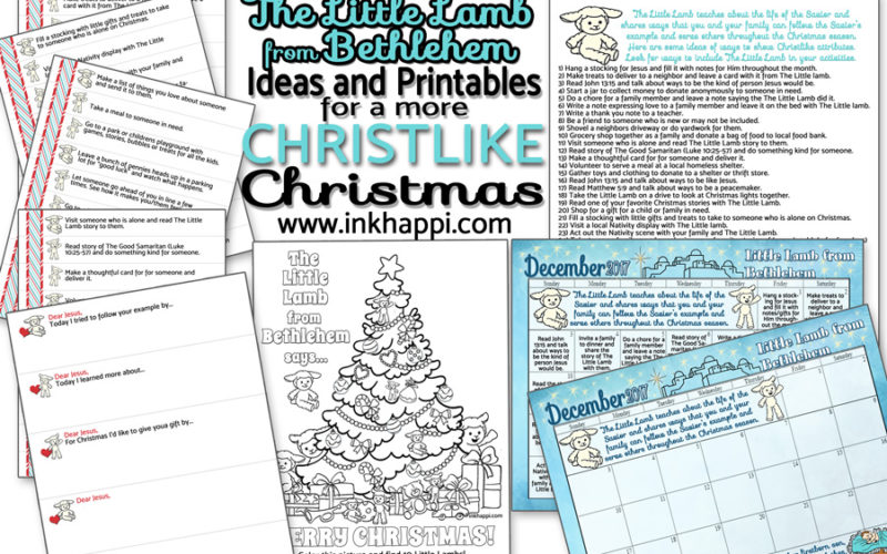Lots of ideas and free printables to go with The Little lamb from Bethlehem to enjoy a more Christlike Christmas. #printables #Christmas #littlelamb #christ #kindness