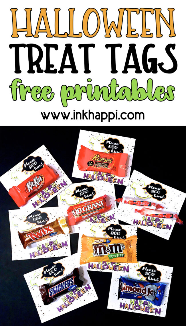 "Share a fun and positive message with your halloween treats! Please ""BOO"" kind. Cute tags to attach to your halloween treat. Free printables! #halloween #treattags #bekind #trickortreat"