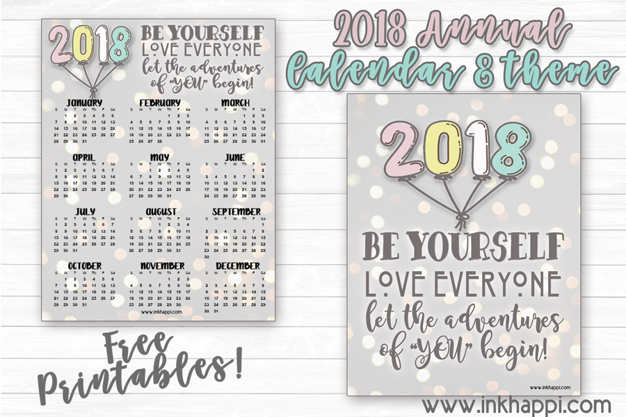 "2018 Annual Calendar… Let the adventures of ""YOU"" begin!"