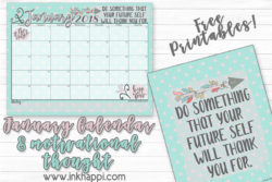 January 2018 Calendar and Motivational Thought