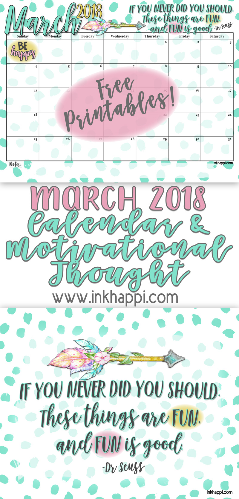 march 2018 calendar and fun dr seuss motivational print from inkhappi calendar freeprintables