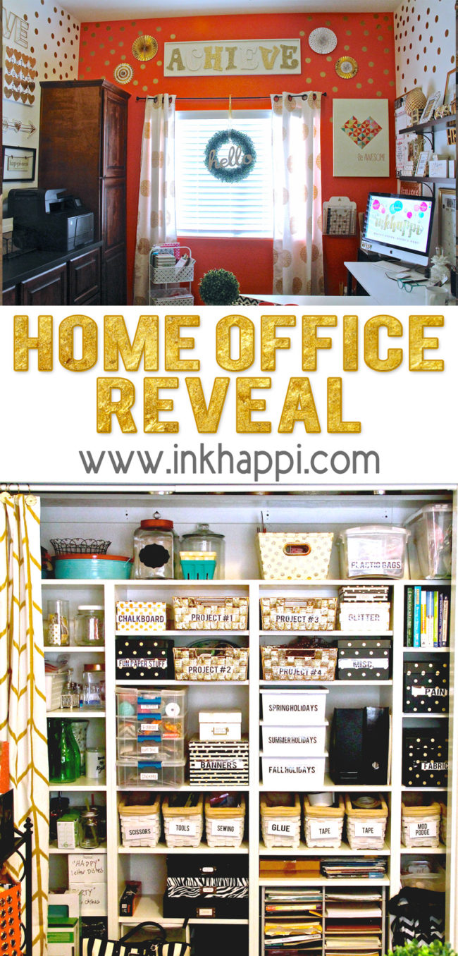 You're invited to my home office reveal! Decor and organization ideas. #homeoffice #officetour #decorideas #organization #craftroom