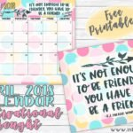 April 2018 Calendar and a Rocking Message about Friends!