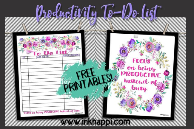 "Free printable to do list and being productive instead of ""busy"". #freeprintables #todolist #productivity"