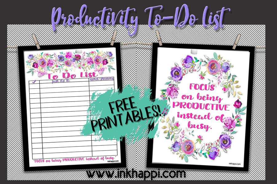 "Free printable to-do list and being productive instead of ""busy"". #freeprintables #todolist #productivity"