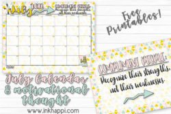 July 2018 Calendar and Motivational Thought about Complimenting Others