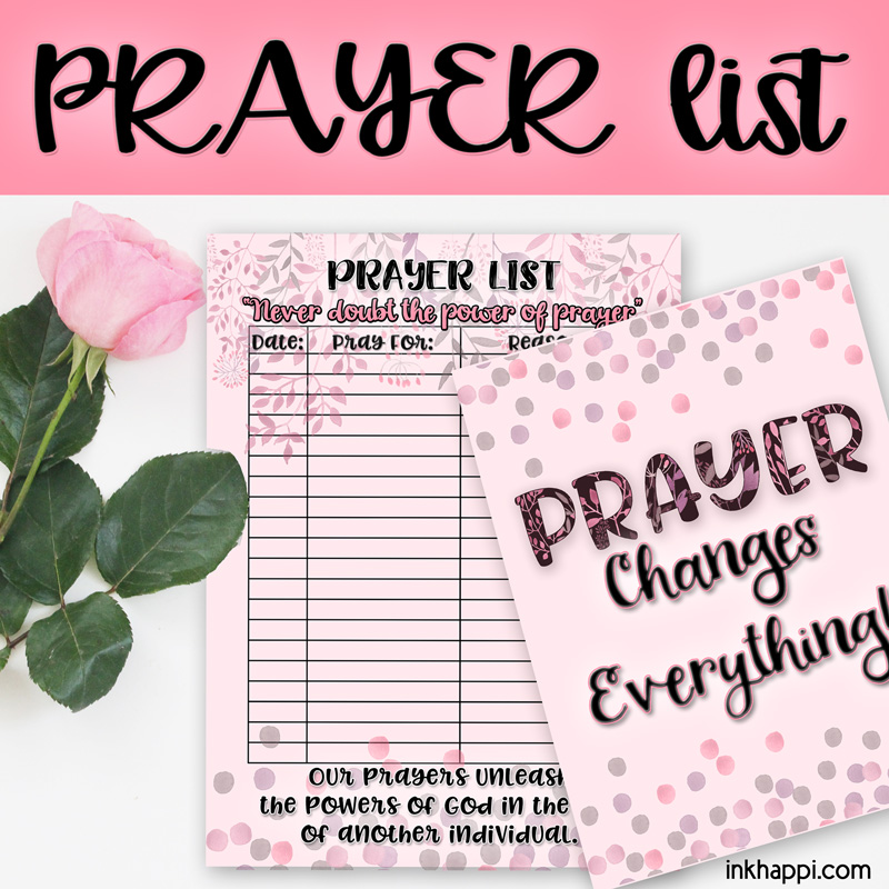 This is a photo of Handy Prayer List Printable