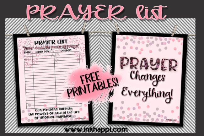 Help bless the ones you care for with this pretty Free Printable prayer list. #freeprintable #prayerlist #prayer