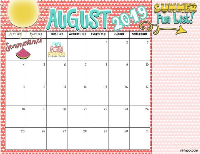 summer planning calendars august 2019