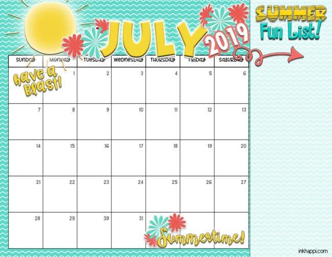 summer planning calendars july 2019
