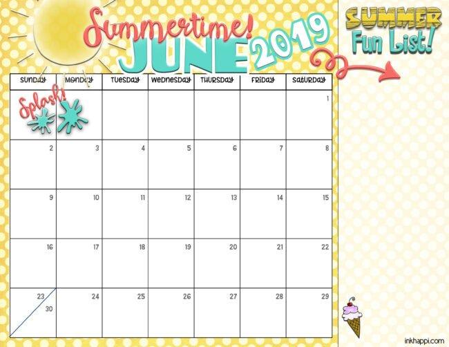 summer planning calendars june 2019