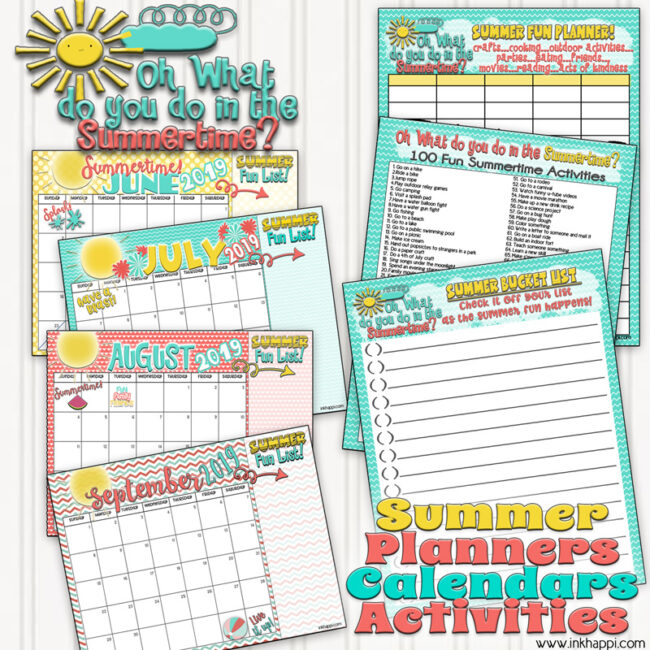 Gather the family and plan out your summer activities with these free printable summer planning calendars, ideas and a chart. #freeprintables #summer #planner #bucketlist