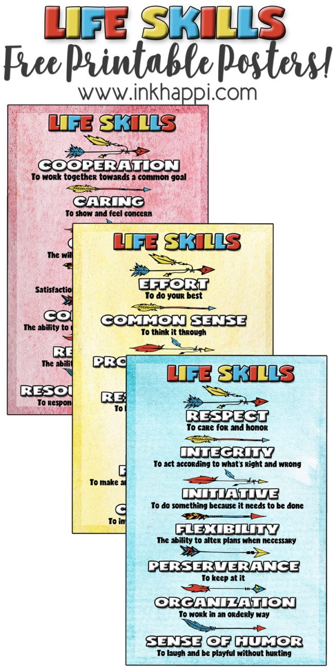 Free Printables! Character building life skills posters. these are great for the home, business or classroom. #lifeskills #freeprintables #teachers #school #charactertraits