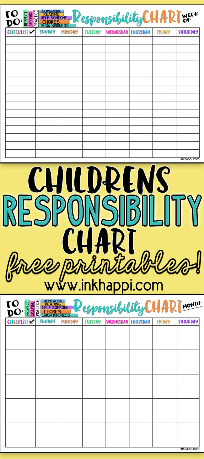 Help teach and develop our children about responsibility with these Childrens Responsibility Charts. #freeprintables #summer #backtoschool #children #responsibily #chart #childrensresponsibilitychart