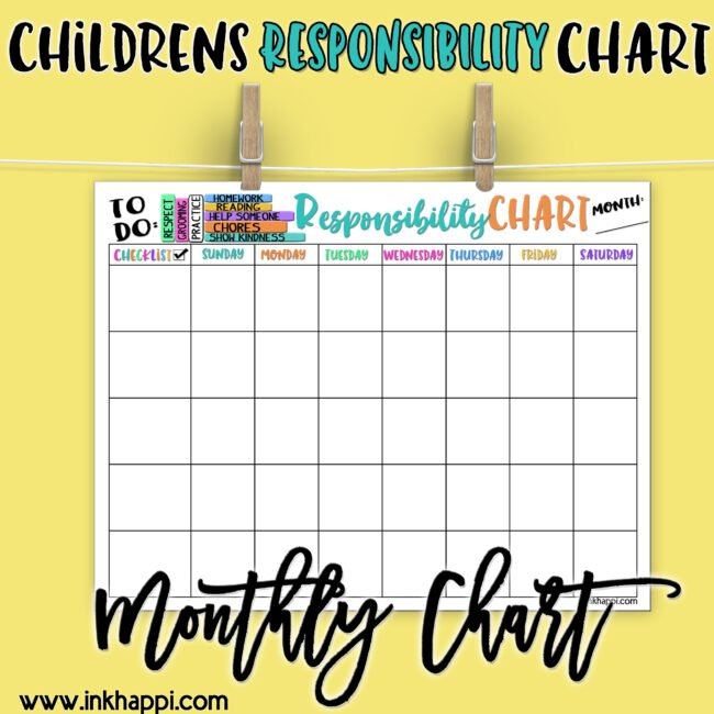 Help teach and develop our children about responsibility and how to be accountable with these Childrens Responsibility Charts. #freeprintables #summer #backtoschool #children #responsibily #chart #childrensresponsibilitychart