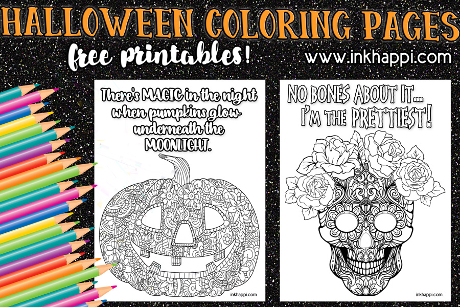 Halloween coloring pages and some fun Halloween sayings!