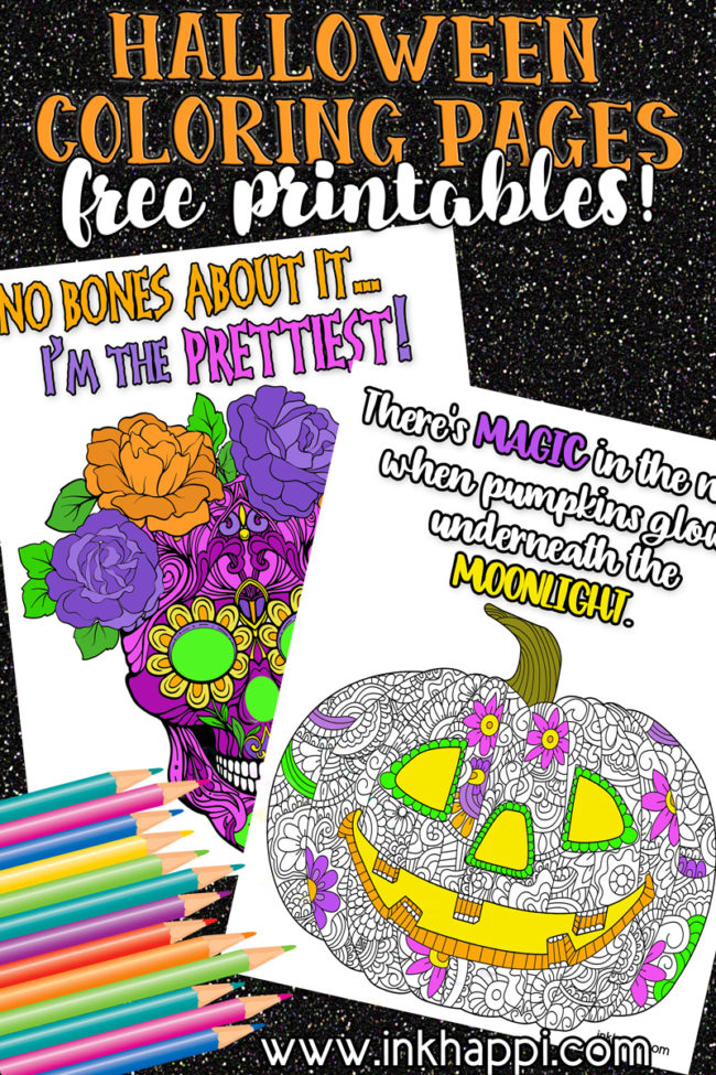 Halloween coloring pages with fun sayings! #freeprintables #halloween #pumkin #skull #coloring